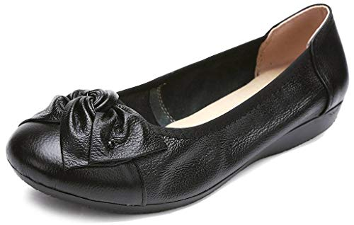 Fangsto Women's Genuine Leather Loafers Flats Working Shoes Slip Ons Black