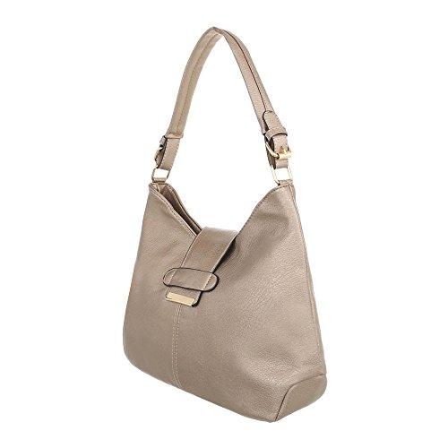 iTal-dEsiGn Damentasche Große Schultertasche Used Optik Handtasche Kunstleder TA-A123-1 Beige Gold