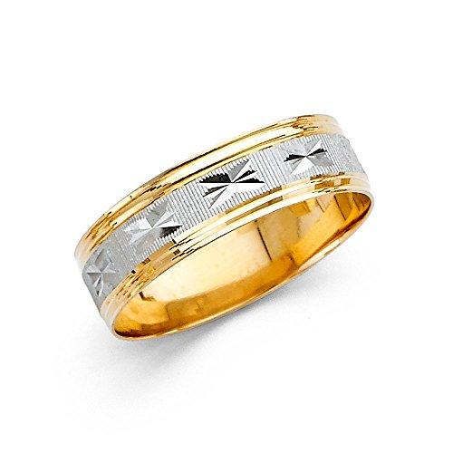 Ioka Jewelry - 14K Two Tone Solid Gold 6mm Diamond Cut Men's Wedding Band - size 9 by Ioka Jewelry