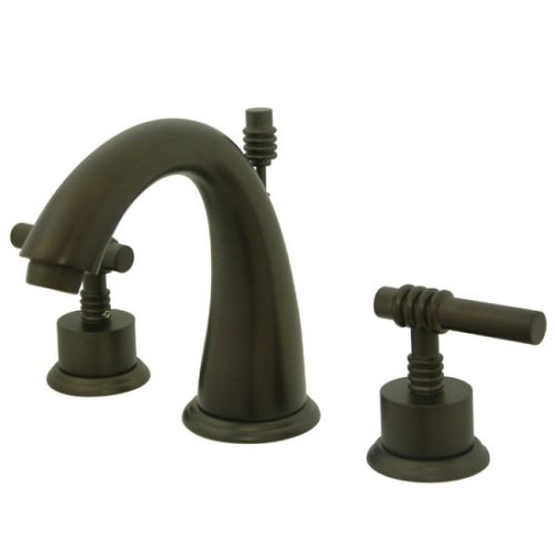 Kingston Brass KS2965ML Milano Widespread Lavatory Faucet with Metal lever handle, Oil Rubbed Bronze
