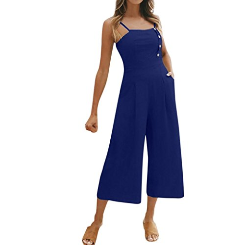 iTLOTL Women Holiday Sleeveless High Waisted Wide Leg Summer Beach Jumpsuit(M, Blue )
