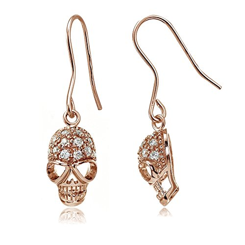 Rose Gold Flashed Sterling Silver Cubic Zirconia Skull Head Dangle ()