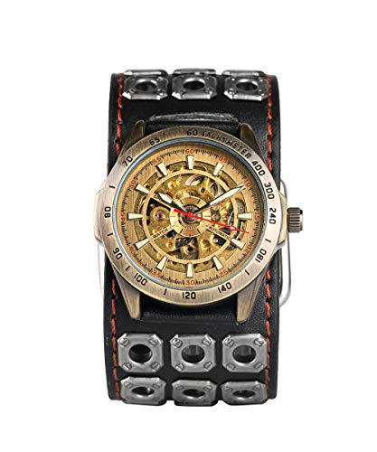 Mens Punk Rock Watch Skull Mechanical Watches Cuff Leather Band with Gift ()