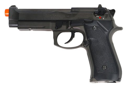 (hfc m9 full metal gas blowback airsoft pistol semi/full auto built-in rail(Airsoft)
