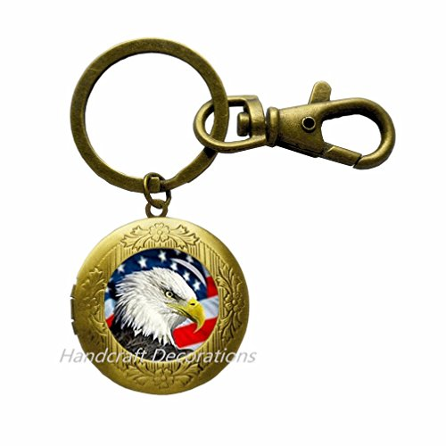 Bald Eagle Keychain (American Bald Eagle Locket Key Ring Locket Keychain,American Flag Locket Key Ring,Charm Locket Keychain Patriot Locket Key Ring.F214 (E2))