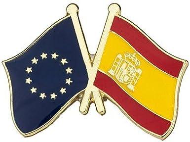 Pin de Solapa Bandera de la Unión Europea y Bandera de España: Amazon.es: Ropa y accesorios