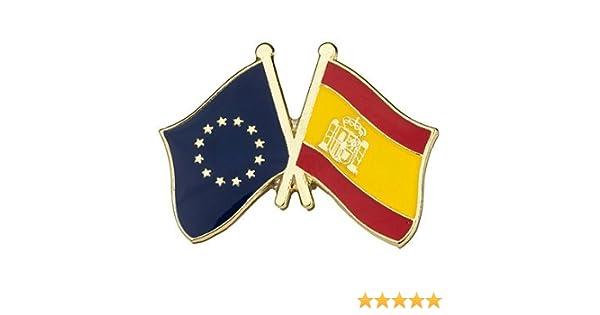 Pin de Solapa Bandera de la Unión Europea y Bandera de España ...