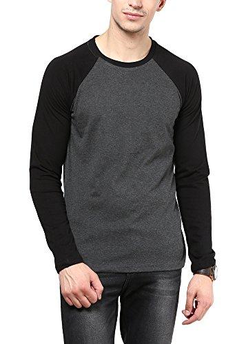 Izinc Men's Cotton T-Shirt (IZINC-CREW-REGLAN-FULL-DARKGREY-M_Dark Grey_Medium)-SPL