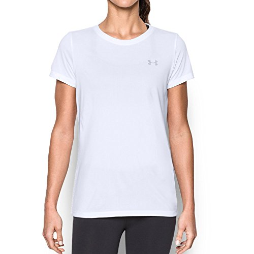 Under Armour Women's Tech T-Shirt, White (100)/Metallic Silver, Large