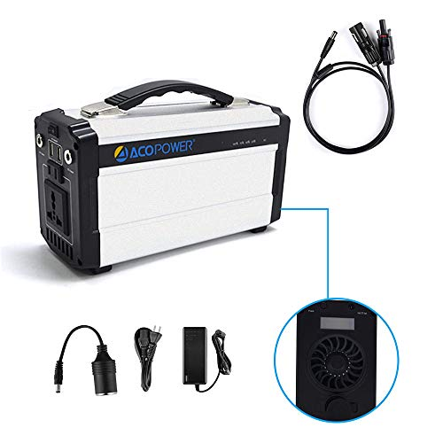 ACOPOWER Portable Generator for Camping 60,000mAh Lithium Ion Battery DC Inverter Power Bank USB/5V DC/12V 110V Input: AC, Car & Solar Panel, 220Wh