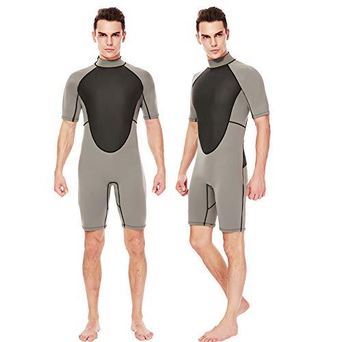 (Realon Shorty Wetsuit Men 3mm Surfing Suit Diving Snorkeling Swimming Jumpsuit (3mm Men Shorty Grey, Large))