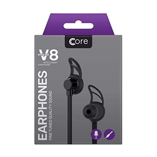 Core V8 Earphones – Black Earbuds