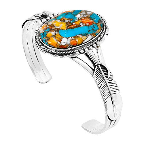 (Spiny Turquoise Bracelet Sterling Silver 925 Genuine Turquoise & Spiny Oyster (CHOOSE STYLE) (Feather Cuff))