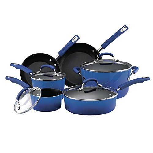 Rachael Ray® 10-pc. Blue Porcelain Hard Enamel II Cookwa