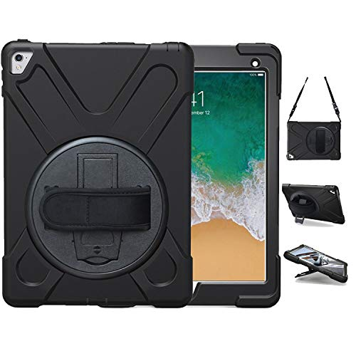 iPad Pro 9.7 Case, TSQ Heavy Duty Rugged Protective Hard Shockproof Case Cover Kids Handle Hand Strap,Carrying Shoulder Strap &360 Degree Rotating Stand, 9.7 Inch 2016 A1673/A1674/A1675 Black
