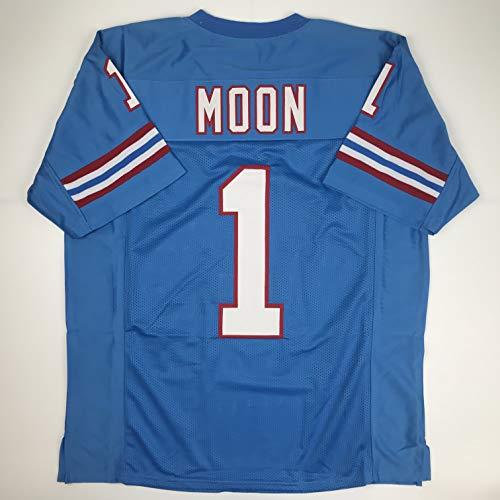 Unsigned Warren Moon Houston Blue Custom Stitched Football Jersey Size Men's XL New No Brands/Logos