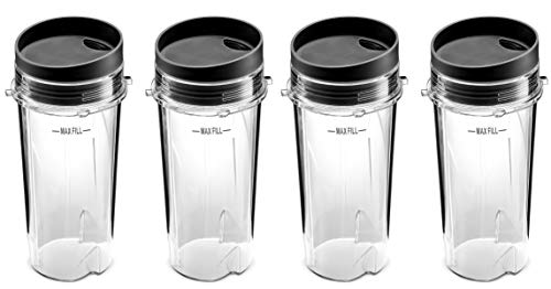 Ninja Single Serve 16-Ounce Blender Cups Set for BL770 BL780 BL660 Professional Blender (Pack of 4)