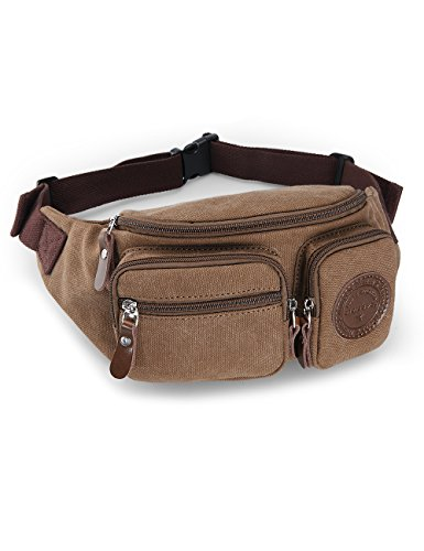 - Muzee Mens Canvas Waist Pack Running Sling Backpack Crossbody Bag Fanny Packs