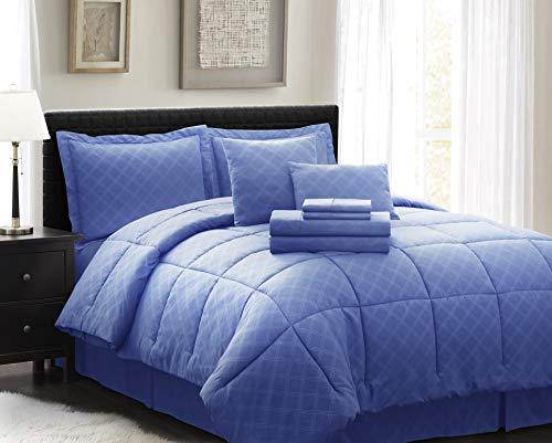 Spirit Linen Home Comforter 10 Piece Comfy Sleep Wellness Bed in A Bag Complete Bedding Set with Sheets (Navy, King)