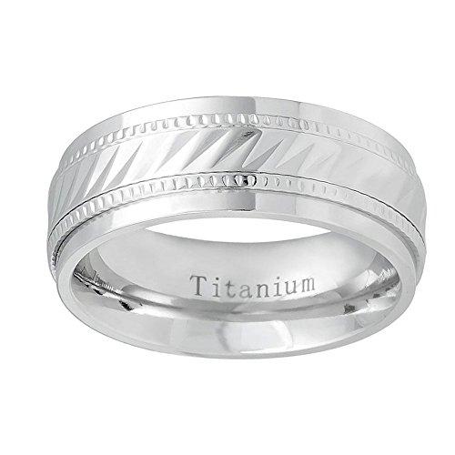 Free Engraving Personalized Titanium Wedding Band Ring 8mm White Notched Center Milgrain Ring