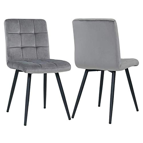 Modern Dining & Leisure Chair Set of 2, Metal Legs Velvet Cushion Seat and Back for Dining Living and Waiting Room Chairs Gray