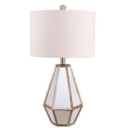 Catalina 20416-000 Maxine Faceted Antique Mirror Table Lamp with Natural Linen Drum Shade, 28'', Silver by Tensor