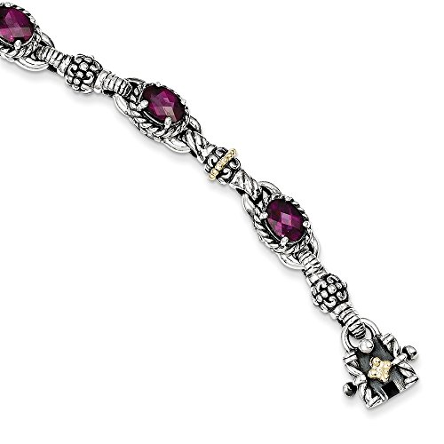 Jewels By Lux Sterling Silver w/14K Gold Rhodolite Garnet Bracelet