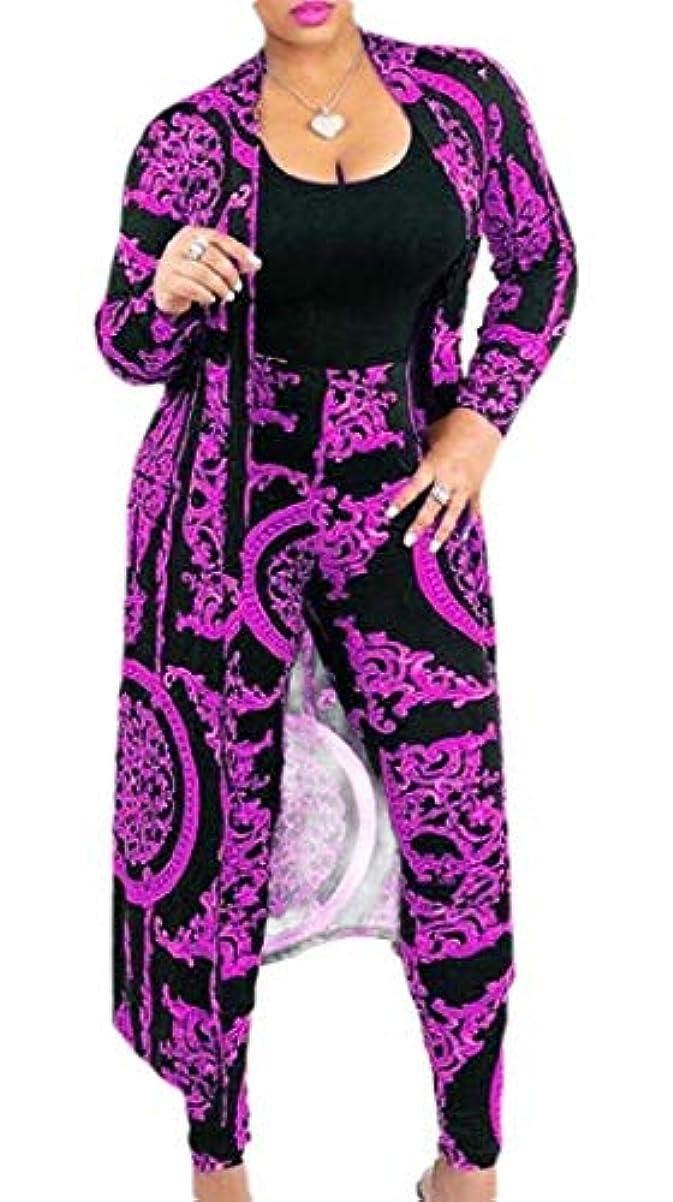 促す感謝祭韻chenshiba-JP 女性長袖 フローラル オープンフロントカーディガンとパンツ 2ピース クラブ衣装セット