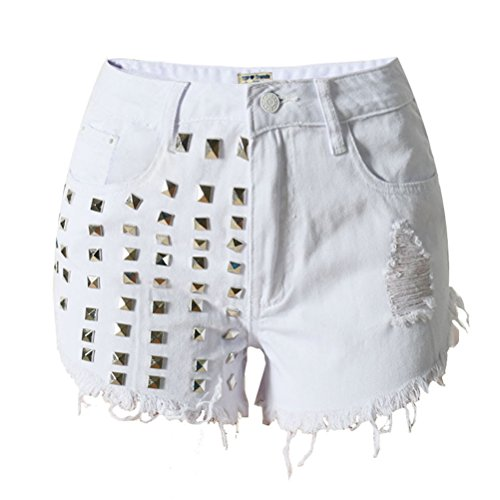 Shorts Sl009 Studded White Womens Distressed Summer Ripped Square Laixing Buena Calidad Denim Fashion ABfwBHvP