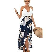 Women Boho Deep V Spaghetti Halter Midi Dress Summer Backless Floral Dress