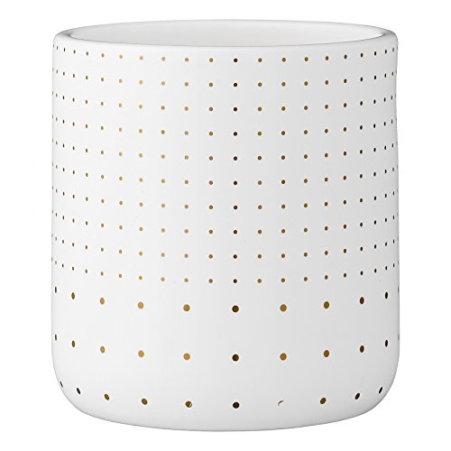 Bloomingville A75800049 White Stoneware Flower Pot with Gold Polka Dots ()