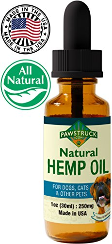 Pawstruck Hemp Oil for Dogs & Cats (250 mg) Made in USA Natural Full Spectrum Calming Oils for Anxiety Relief in Pets & Improved Joint Health - Easily Apply Drops to Treats or Food
