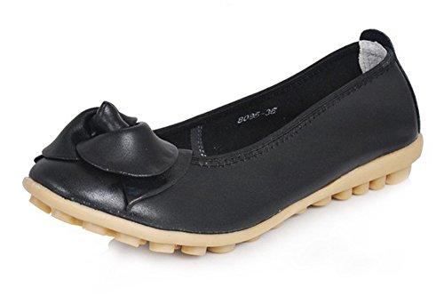 Fortuning's JDS Mujeres cómodas flor de punta redonda zapatos de cuero zapatos planos Negro
