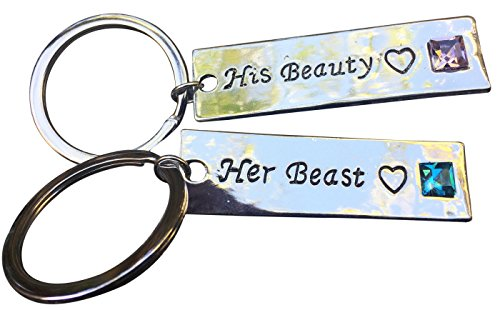 Leune Accessories | Cute Couple Keychains for Girlfriend and Boyfriend Love Key Chain for Him and Her Key Ring Anniversary Keychain | GIFT BOX AND POUCH (Beauty/Beast)