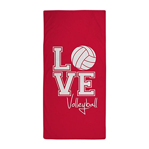 CafePress - Love Volleyball, Crimson Red Beach Towel - Large Beach Towel, Soft 30''x60'' Towel with Unique Design by CafePress