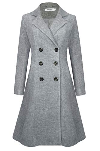 APTRO Women's Double Breasted Hemlines Wool Coat Long Winter Coats WS02 Gray L