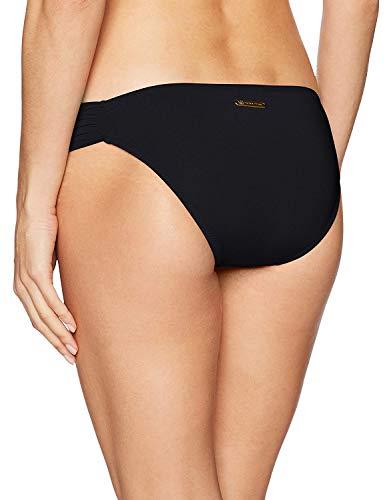 Trina Turk Women's Shirred Side Hipster Pant Bikini Swimsuit Bottom, Black/Key Solids, 12