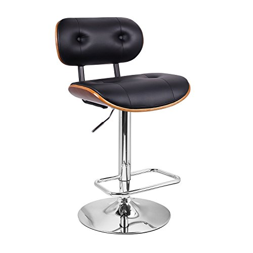Top Seller! Extremely Comfy with Extra Padding and Larger Seat! Black Modern Adjustable Swivel Hydraulic Bar Stools Low Back Accent Chair, Restaurant and Home