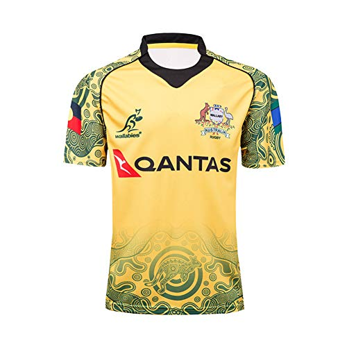 DXJJ 17-18 World Cup Australia Commemorative Edition Rugby Jerseys,Yellow,2XL