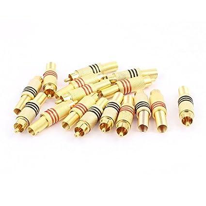 eDealMax 16pcs conector del adaptador Metal sin soldadura Primavera RCA Macho conector de Audio