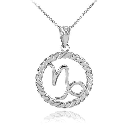 Collier Femme Pendentif 10 Ct Or Blanc Capricorne Zodiaque Signe À Cercle Corde (Livré avec une 45cm Chaîne)