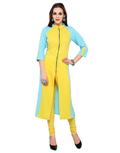 Janasya-Womens-Yellow-Sky-Blue-Indo-Western-Crepe-Kurti