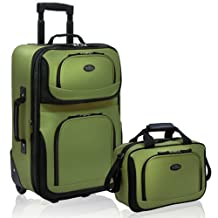 Travelers Choice US Traveler Rio Expandable Carry-On Luggage Set, One Size, 2-Piece (Green)
