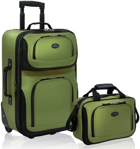 U.S. Traveler Rio Rugged Fabric Expandable Carry-On Luggage Set, Green, 2-Piece
