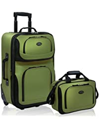 Rio Rugged Fabric Expandable Carry-On Luggage Set, Green, 2-Piece