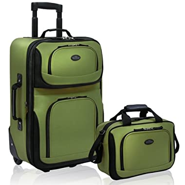 US Traveler Rio Two Piece Expandable Carry-On Luggage Set, Green, One Size