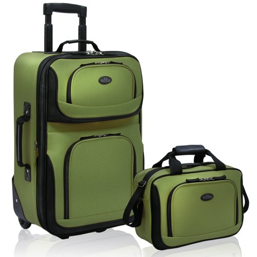 U.S Traveler Rio Carry-On Lightweight Expandable Rolling Luggage Suitcase Set - Green (15-Inch And 21-Inch)