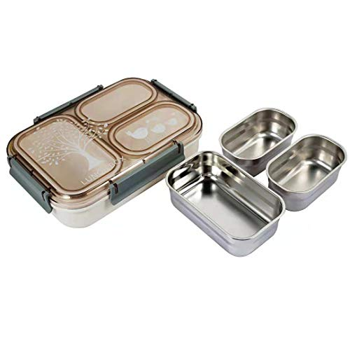 Pedeco Stainless Steel Divided Leakproof BPA Free Lunch Box with 3 Compartments Lunch Containers for Adults Kids
