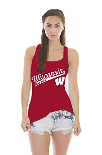 NCAA Wisconsin Badgers Women's Holly Jackie Jersey Tank Top, Red, Small