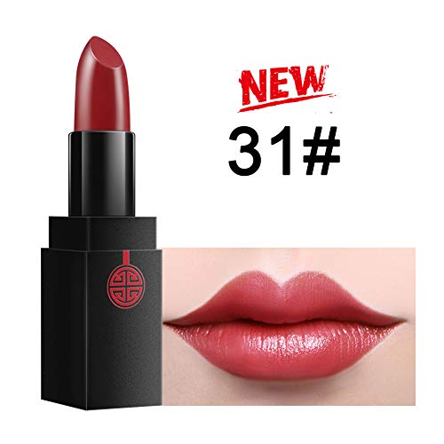 Moisturizing Waterproof Red Pink Lipstick – MEIKING Long Lasting Lip Stick Color Natural Cosmetics Shimmer Lip Makeup 14 Shades Larga Duracion 24 Hour 0.13 oz (#31 new)